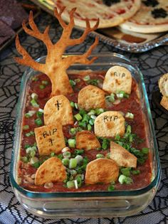 Graveyard Dip~ I will put my avocado layer on top instead of the salsa so it looks like grass, then sprinkle with green onion!  Perfect for Halloween Party...Everyone with children these days has a party rather than have them go Trick and Treating...This would be for the Adults also...Have Mom and Dad dress up too..A great party for all....