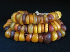 Morocco | A strand of antique natural amber beads ~ these are real fossilized resin amber beads.