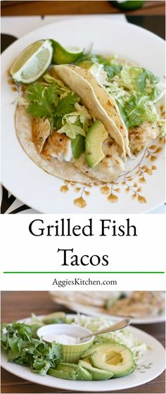 Light & bright these Grilled Fish Tacos simply seasoned with jalapeno, lime & cumin are perfect warm weather food! Don't skimp on the fresh green toppings! via @aggieskitchen