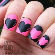 Valentine's Day nails with hearts