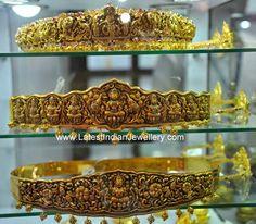 Nakshi Work Vaddanam Designs in Antique Finish - Latest Indian Jewellery Designs Gold Temple Jewellery, India Jewelry, Gold Jewelry, Diamond Jewellery, Antique Jewellery Designs, Indian Jewellery Design, Gold Waist Belt, Waist Belts, Saree With Belt