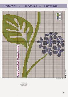 grafico de triptico hortensia en punto de cruz - Buscar con Google