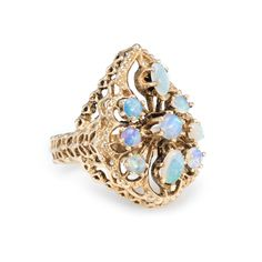 Opal Cluster Cocktail Ring Vintage 14k Yellow Gold Estate Fine Jewelry Heirloom  #Unbranded #Cocktail