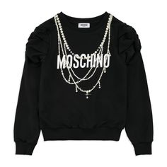 fc4282e41b74f Girls Necklace Logo Sweatshirt - Black by Moschino