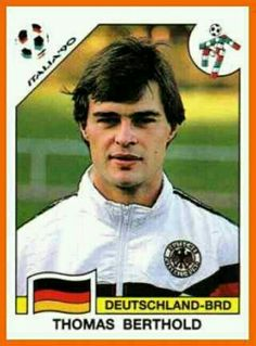 Thomas Berthold of West Germany. 1990 World Cup Finals card. Good Soccer Players, Football Players, World Football, Football Soccer, Fifa World Cup 1990, Lars Bender, America Album, Michael Ballack, Football Stickers