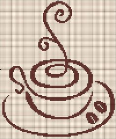 "Filet ""Cup of coffee"" Cross Stitch Designs, Cross Stitch Patterns, Cross Stitching, Cross Stitch Embroidery, Beading Patterns, Embroidery Patterns, Cross Stitch Silhouette, Cross Stitch Kitchen, Cross Stitch Boards"