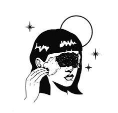 Starry Lady Modern Steel Wall Art, x - 18 x 24 (Steel - 18 x 24 - Abstract), Black Kunst Inspo, Art Inspo, Art And Illustration, Black And White Illustration, Art Illustrations, Deco Time, Modern Metal Wall Art, Grafik Design, Sketch Art