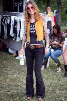 Hanna Samvstrom, 33 Spotted at: Austin Psych Fest Occupation: Tattoo Artist From: San Francisco, CA T-shirt: Bandit Brand Pants: Elizabeth a...