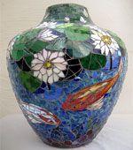 large mosaic koi vase view 1 thumb