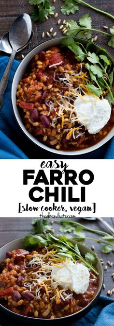 Easy Farro Chili | A chili recipe featuring farro and beans made in your slow cooker! Prep time is less than 5 minutes | http://thealmondeater.com