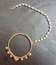 Gold Plated Indian Kundan Multi Stone CZ Nose Ring Chain Bridal Wedding Jewelry