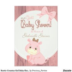 Rustic Country Girl Baby Shower Custom Invitation