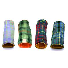 $55 Scottish Clan Tartan Head Covers  Made from 100% Scottish wool, each of Seamus Golf's Tartan covers is rugged enough to withstand a sudden downpour on the course while adding a touch of dandy style to any set of clubs.