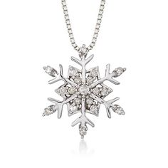 .15 ct. t.w. Diamond Snowflake Pendant Necklace in Sterling Silver. 18