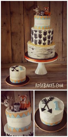 Woodland Animals Cake and Smash Cake with Arrows & Birch Tree Tiers
