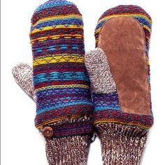 Muk Luks Brown Vintage Sweater Mittens, Os