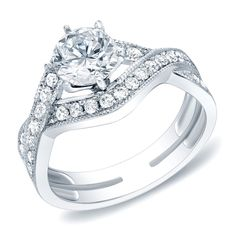 Auriya 14k Gold 1 3/4ct TDW Certified Round Diamond Engagement Ring (H-I, SI1-SI2) (White Gold - Size 7), Women's