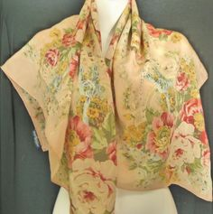 Vintage Polo Ralph Lauren Silk Scarf Floral Flower Watercolor Japan 34 x  35.5  PoloRalphLauren   38096f61881