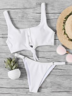 09f531933f Shop Knot Front Ribbed Top With Low Rise Bikini online. SHEIN offers Knot  Front Ribbed Top With Low Rise Bikini   more to fit your fashionable needs.