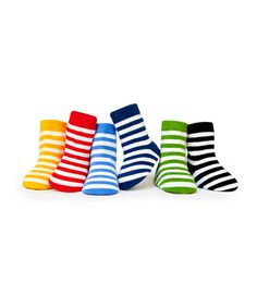 Take a look at this Green & White Stripe Socks Set by Trumpette on #zulily today!
