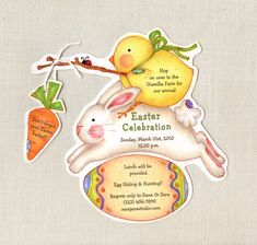 Personalized and Handcut Easter Invitations - Birthday Party Invitations - Easter Bunny Chick Egg Hunt Party Invitations - Set of 10 on Etsy, $15.00