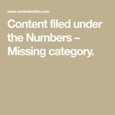 Content filed under the Numbers – Missing category.
