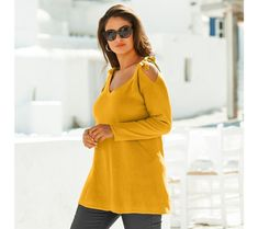 Pulóver s odhalenými ramenami | blancheporte.sk #blancheporte #blancheporteSK #blancheporte_sk #novákolekcia #ja #leto Bell Sleeves, Bell Sleeve Top, Pulls, Grisaille, Dresses With Sleeves, Bikini, Long Sleeve, Fashion, Cold Shoulder Jumper