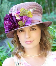 Lavender Lilac Straw Hat. Cloche. Kentucky Derby Hat, Wedding Hat, Formal Hat, Church Hat, Special Occasion Hat, Ascot hat, Downton Abbey by AwardDesign on Etsy https://www.etsy.com/listing/158234771/lavender-lilac-straw-hat-cloche-kentucky