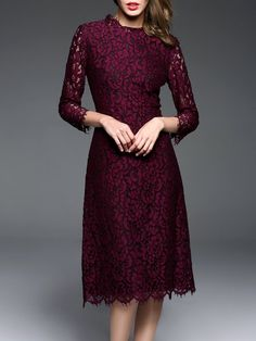 Shop Midi Dresses - Burgundy A-line Guipure Lace Long Sleeve Midi Dress online. Discover unique designers fashion at StyleWe.com.