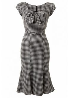 Stop Staring 1940s Style Grey Dogtooth Wiggle Dress, £189.00