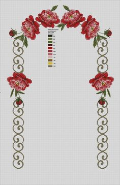 This Pin was discovered by Zey Cross Stitch Borders, Cross Stitch Flowers, Cross Stitch Designs, Cross Stitching, Cross Stitch Embroidery, Hand Embroidery, Cross Stitch Patterns, Easy Crochet Patterns, Beading Patterns
