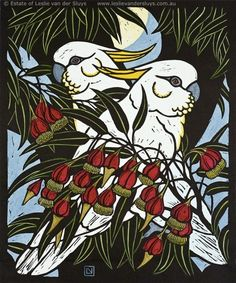 Leslie van der Sluys - Sulphur Crested Cockatoo and Fuschia Gum 1981 Australian Native Flowers, Australian Parrots, Australian Plants, Australian Artists, Linocut Prints, Art Prints, Block Prints, Art Pictures, Photos