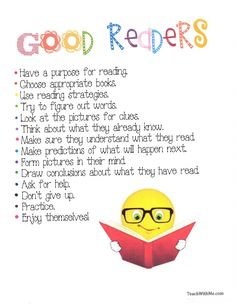 Good Readers Anchor Chart - put in reading folder - have kids highlight their strengths and weaknesses with two different colors