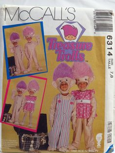 McCall's 6314 Children's Treasure Trolls™ Costumes- Jumpsuit, Head, Hands and Feet for Stretch Knit