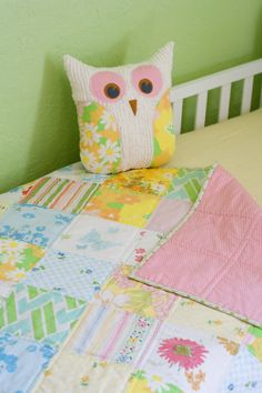 Cute little owl pillow and matching easy quilt.