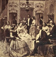 After party 1860 soiree aux salon de Paris. WHY DO PEOPLE NOT DRESS LIKE THIS ANYMORE (aside from the corsets that caused women to die during childbirth I mean...)