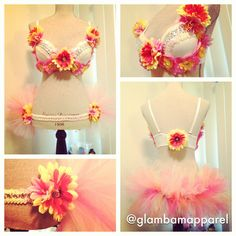 34C Daisy and Orchid Bra and Matching Bussle by GlamBamApparel, $120.00
