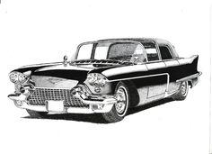 Pluma y tinta de dibujo A4  Cadillac Eldorado por PetesPiccies
