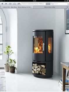 MORSØ 7443 – OPEN BASE Morsø takes the best qualities of modern wood burning stoves and uses them to give the consumer a modern take on a classic design. Wood, House, Front Room, Interior, Home, Wood Burning Stoves Living Room, House Interior, Stove, Fireplace