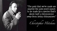 The gods that we've made are exactly the gods you'd expect to be made by a species that's about half a chromosome away from being chimpanzees. - Christopher Hitchens