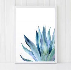 Acuarela de la planta Agave imprimir hojas de Agave arte