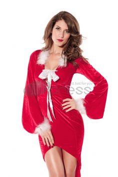 Christmas clothing ( long-sleeved red velvet Christmas dress models )