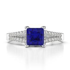 Gold / Platinum Princess and Round Cut Sapphire and Diamond Engagement Ring Gold Platinum, Diamond Engagement Rings, Sapphire, White Gold, Princess, Jewelry, Jewels, Schmuck, Jewerly