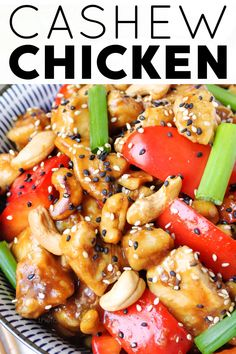 Cashew Chicken with juicy stir-fried chicken, bell peppers, and buttery cashews all coated in a sweet and savory garlic soy sauce. Skip takeout and make this easy and delicious 20-minute cashew chicken recipe at home. Easy Cashew Chicken Recipe, Chicken Recipes At Home, Sweet Bell Peppers, Asian Recipes, Ethnic Recipes, Oriental Food, Chicken And Vegetables, How To Cook Chicken, Fried Chicken