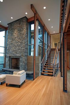 ♥Wood/glass/stone. Open, modern and warm.