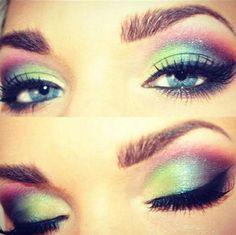 This eye makeup look is beautiful! Love the colors!
