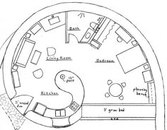 Lovely spiral earth bag house plan... Would be awesome as a great room with bedroom domes coming off of it...