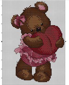 Kreuzstich Cross Stitch Heart, Cross Stitch Animals, Cross Stitch Embroidery, Cross Stitch Patterns, Stitches Wow, My Teddy Bear, Animal Crackers, Needlepoint, Baby Animals