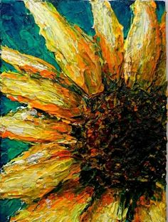 Made to Order: Sunny Sunflower, Acrylic Painting on Canvas Panel Original Art I'm redoing my sunflower now that I've seen this. Re-bagel-ing for the thick, sloppy paint. Painting Inspiration, Art Inspo, Acrylic Painting Canvas, Canvas Art, Knife Painting, Arte Van Gogh, Painting & Drawing, Finger Painting, Watercolor Painting