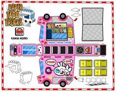 Paper Taco Trucks Papercraft kawaii pink